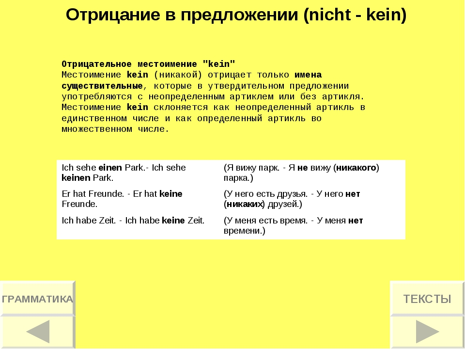 """Отрицание в предложении (nicht - kein) Отрицательное местоимение """"kein"""" Место..."""