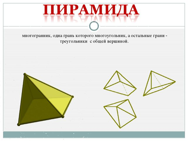 многогранник, одна грань которого многоугольник, а остальные грани - треуголь...