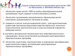 Задачи, направленные на реализацию прав детей с ОВЗ на образование, в 2014-20