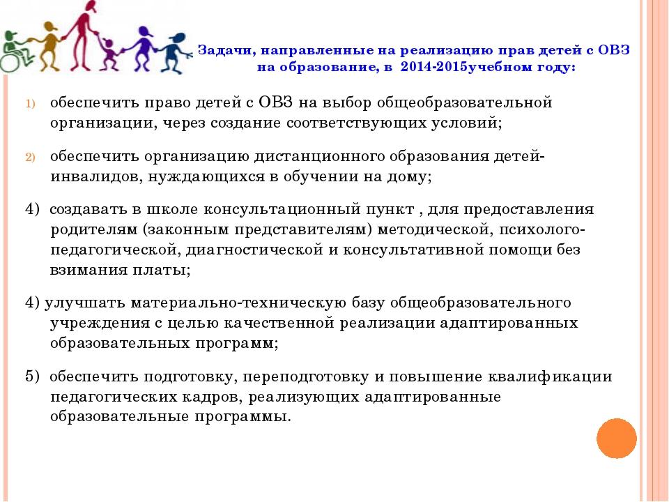 Задачи, направленные на реализацию прав детей с ОВЗ на образование, в 2014-20...