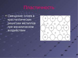 Пластичность Смещение слоев в кристаллических решетках металлов при механичес