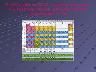 Из 109 элементов ПСХЭ ? являются металлами: они выделены голубым, зелёным и р