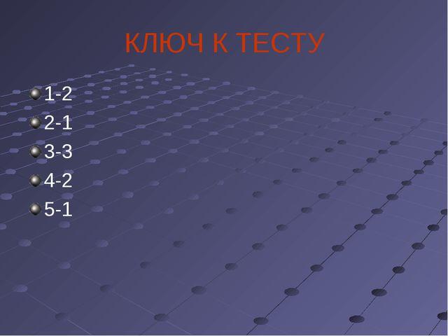 КЛЮЧ К ТЕСТУ 1-2 2-1 3-3 4-2 5-1