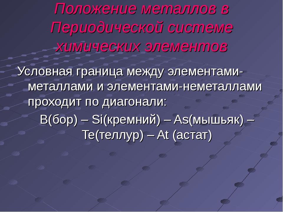 Положение металлов в Периодической системе химических элементов Условная гран...