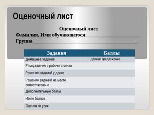 Оценочный лист Оценочный лист Фамилия, Имя обучающегося_____________________