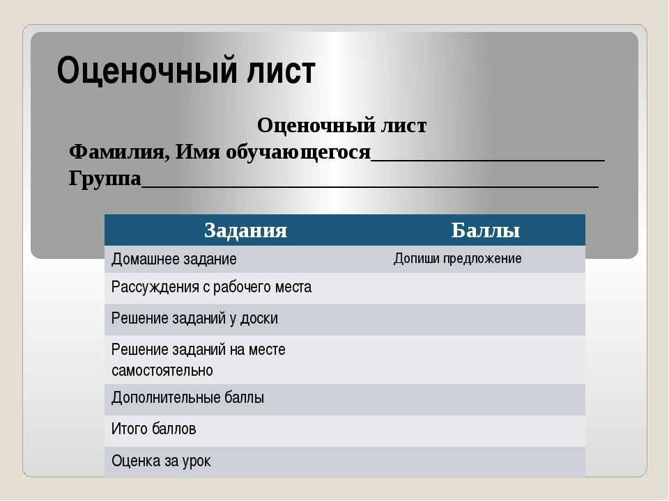 Оценочный лист Оценочный лист Фамилия, Имя обучающегося_____________________...