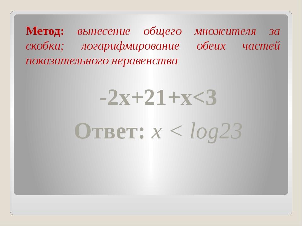 Метод: вынесение общего множителя за скобки; логарифмирование обеих частей п...