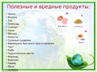 Полезные и вредные продукты: Чипсы Молоко Лук Лимонад Сникерс Каша Яблоко Кап