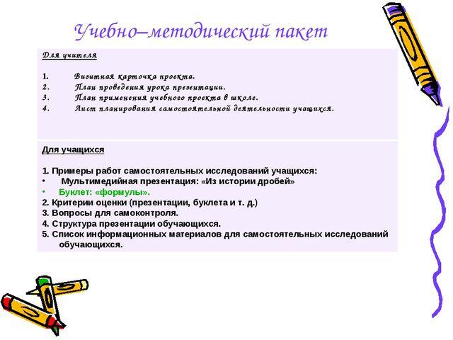 Учебно–методический пакет Для учителя Визитная карточка проекта. План проведе...
