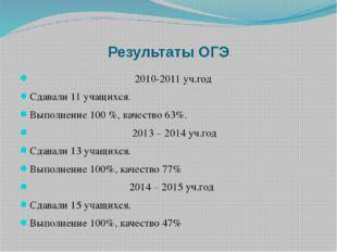 Результаты ОГЭ 2010-2011 уч.год Сдавали 11 учащихся. Выполнение 100 %, качест