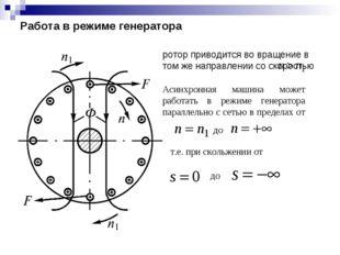 Работа в режиме генератора ротор приводится во вращение в том же направлении