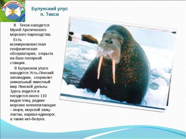 Булунский улус п. Тикси В Тикси находится Музей Арктического морского пароход...