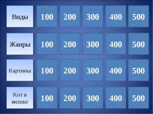 Виды Жанры 100 Кот в мешке Картины 300 400 500 100 100 100 200 200 200 300 30