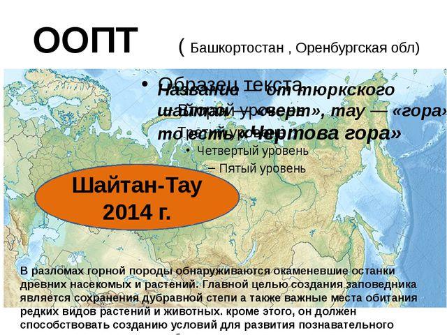 ООПТ ( Башкортостан , Оренбургская обл) Шайтан-Тау 2014 г. В разломах горной...