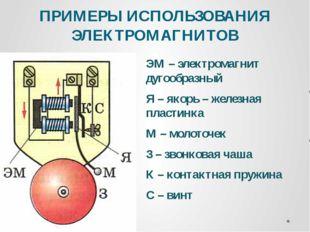 ПРИМЕРЫ ИСПОЛЬЗОВАНИЯ ЭЛЕКТРОМАГНИТОВ ЭМ – электромагнит дугообразный Я – яко