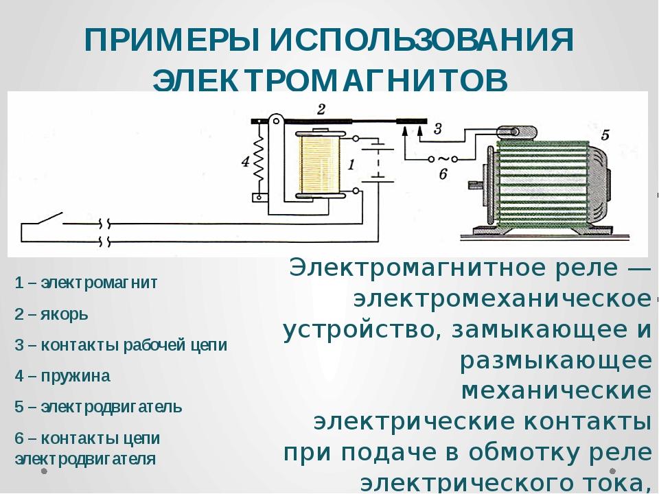 ПРИМЕРЫ ИСПОЛЬЗОВАНИЯ ЭЛЕКТРОМАГНИТОВ 1 – электромагнит 2 – якорь 3 – контакт...