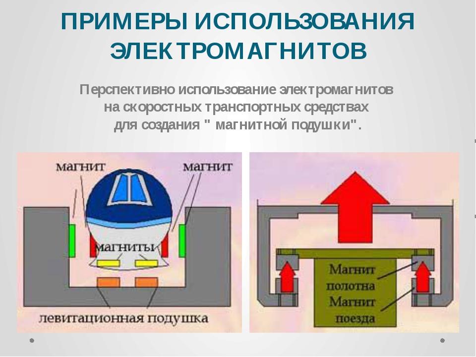 ПРИМЕРЫ ИСПОЛЬЗОВАНИЯ ЭЛЕКТРОМАГНИТОВ Перспективно использование электромагни...