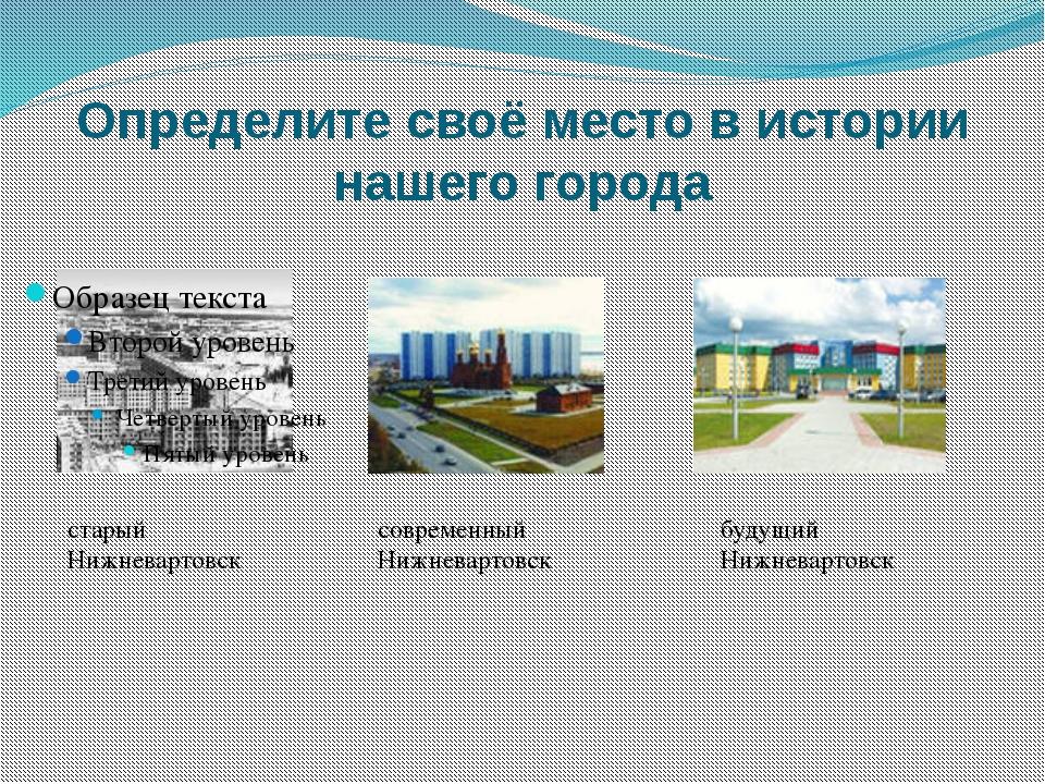 Определите своё место в истории нашего города старый Нижневартовск современны...