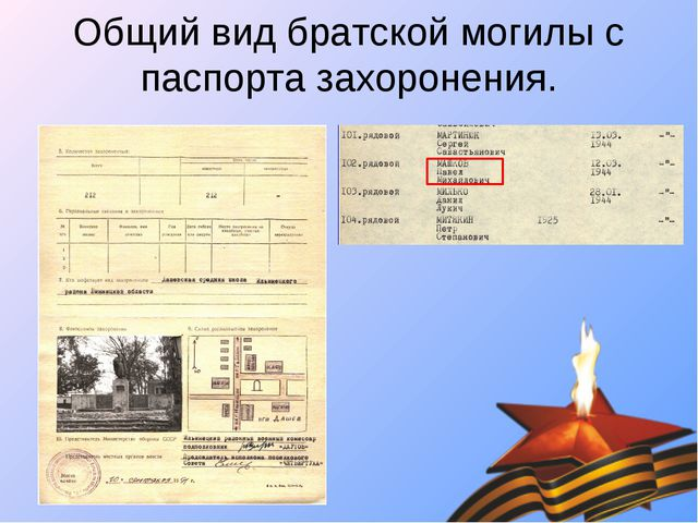 Общий вид братской могилы с паспорта захоронения.