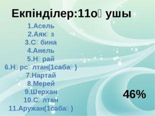 Екпінділер:11оқушы 1.Асель 2.Аякөз 3.Сәбина 4.Анель 5.Нұрай 6.Нұрсұлтан(1саба