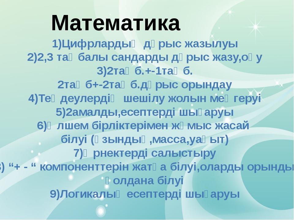Математика 1)Цифрлардың дұрыс жазылуы 2)2,3 таңбалы сандарды дұрыс жазу,оқу 3...