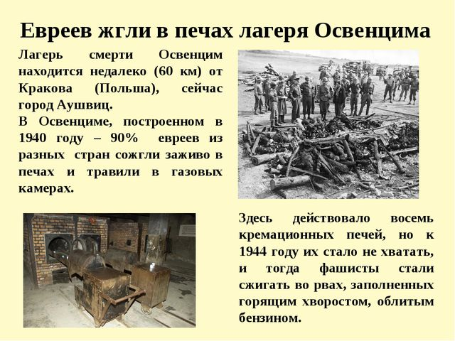 Евреев жгли в печах лагеря Освенцима Лагерь смерти Освенцим находится недалек...