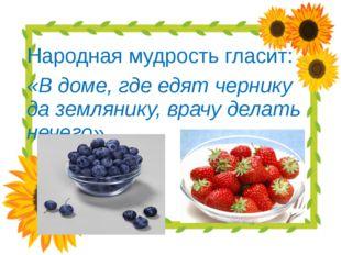 Народная мудрость гласит: «В доме, где едят чернику да землянику, врачу дела