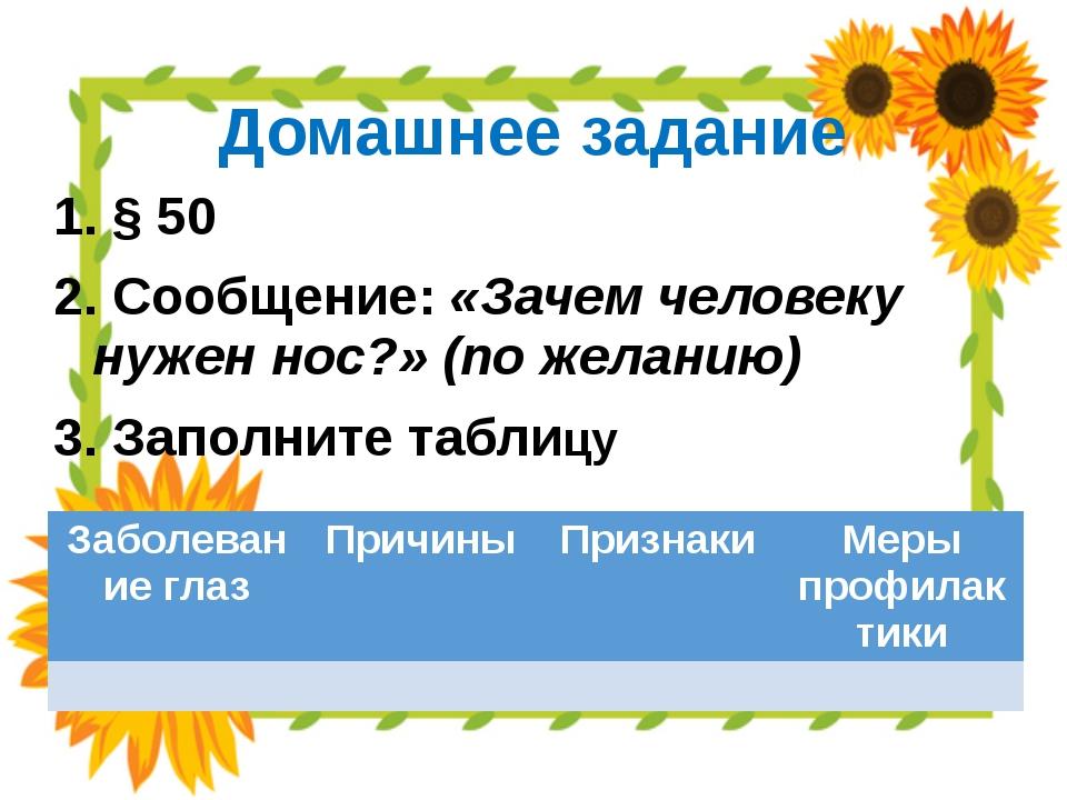 Домашнее задание § 50 Сообщение: «Зачем человеку нужен нос?» (по желанию) Зап...