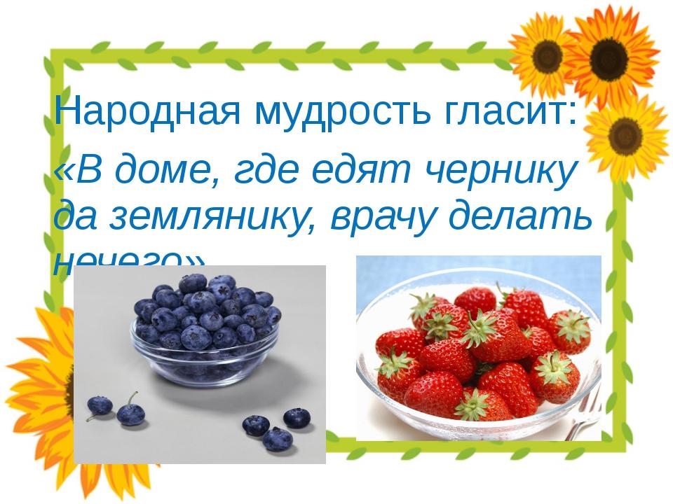 Народная мудрость гласит: «В доме, где едят чернику да землянику, врачу дела...