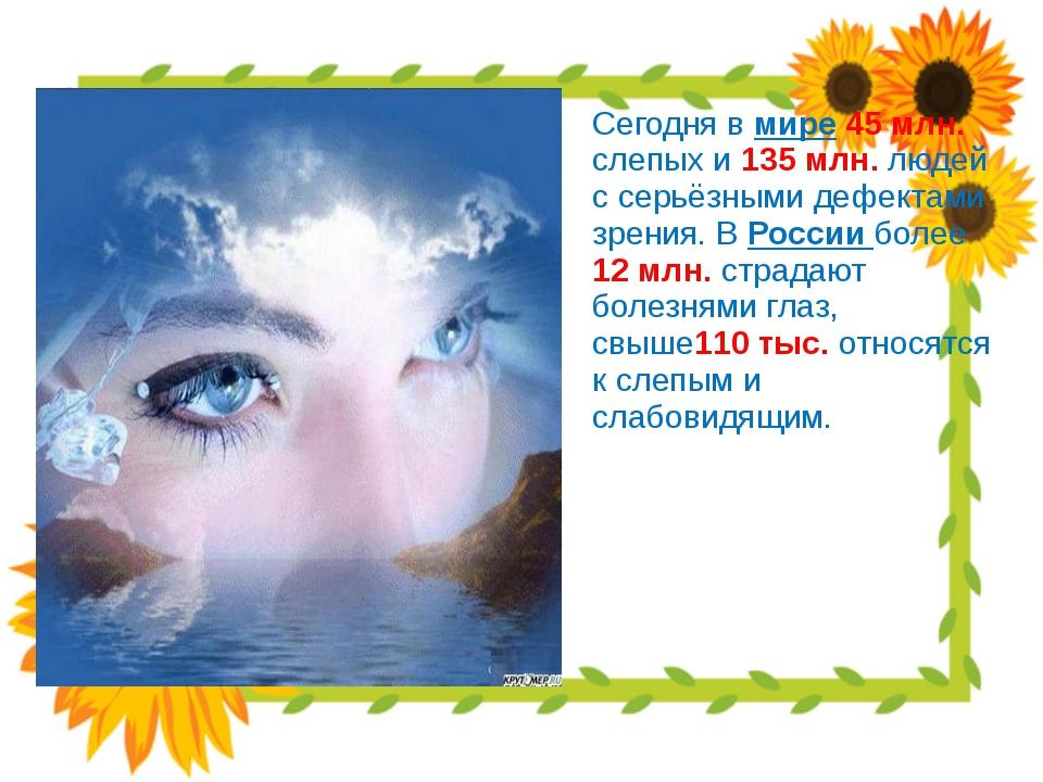 Сегодня в мире 45 млн. слепых и 135 млн. людей с серьёзными дефектами зрения...