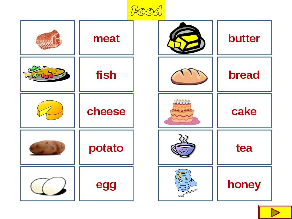 meat butter fish cheese bread cake egg honey tea potato