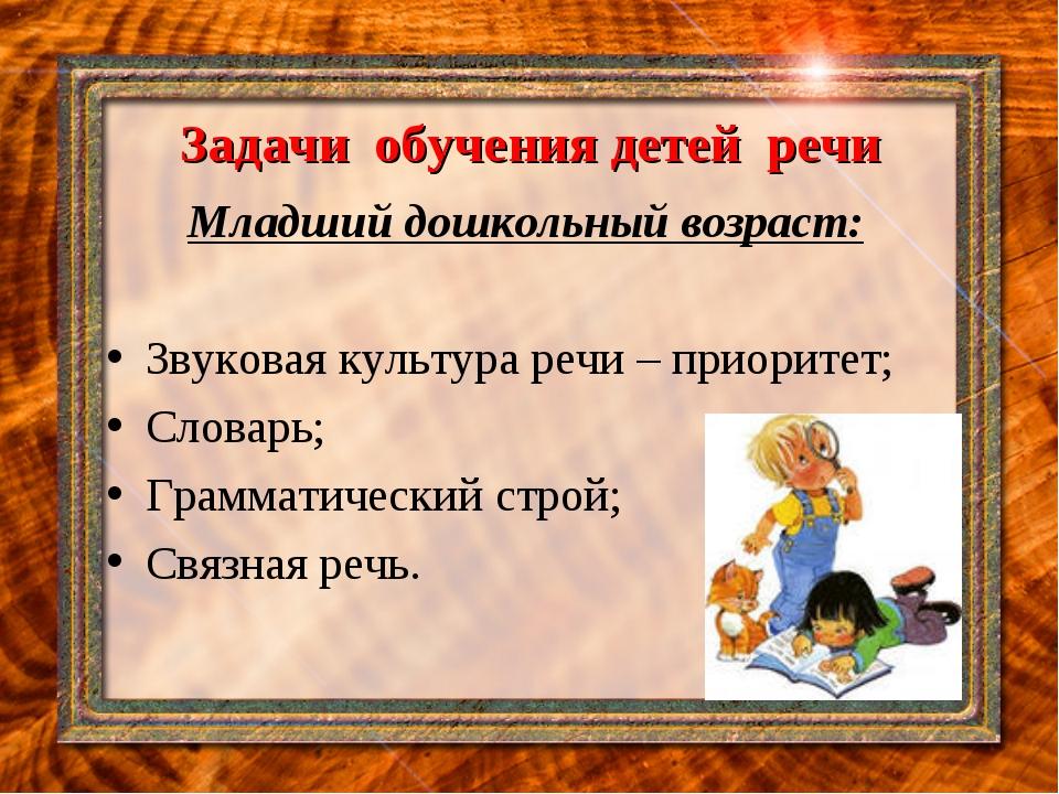 Задачи обучения детей речи Младший дошкольный возраст: Звуковая культура речи...