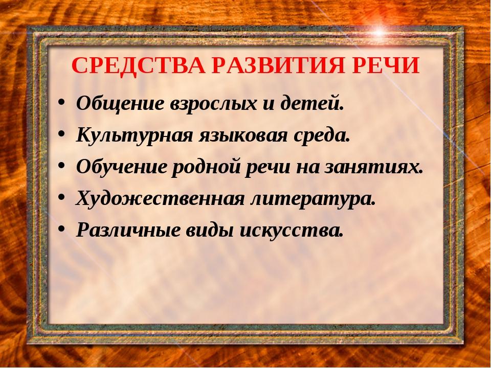СРЕДСТВА РАЗВИТИЯ РЕЧИ Общение взрослых и детей. Культурная языковая среда. О...