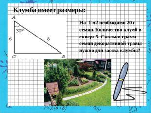 Клумба имеет размеры: На 1 м2 необходимо 20 г семян. Количество клумб в сквер