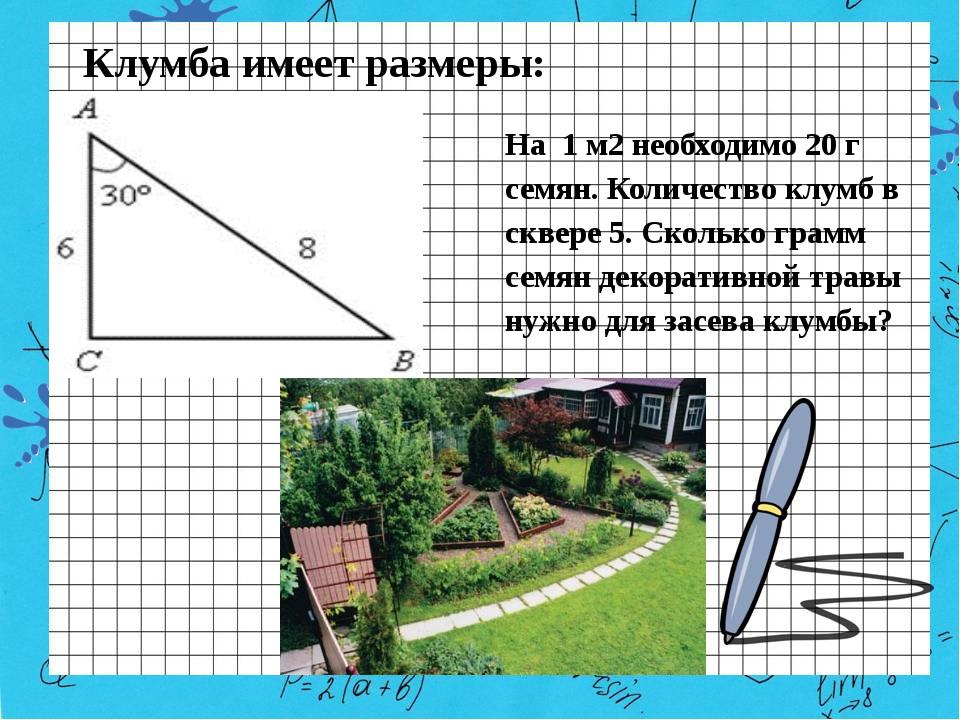 Клумба имеет размеры: На 1 м2 необходимо 20 г семян. Количество клумб в сквер...