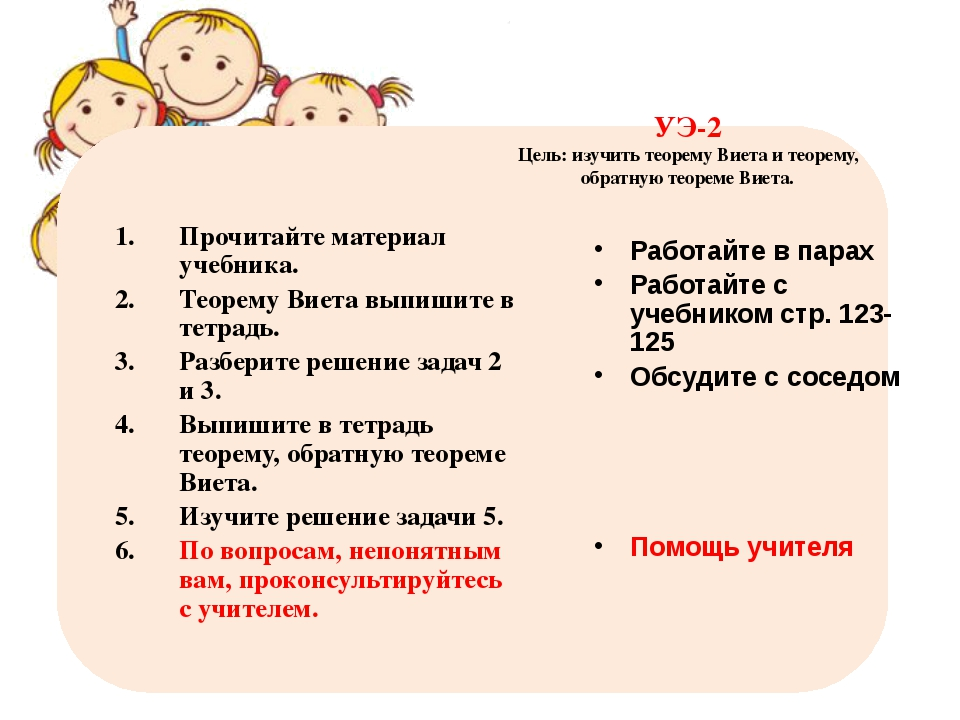 УЭ-2 Цель: изучить теорему Виета и теорему, обратную теореме Виета. Прочитайт...