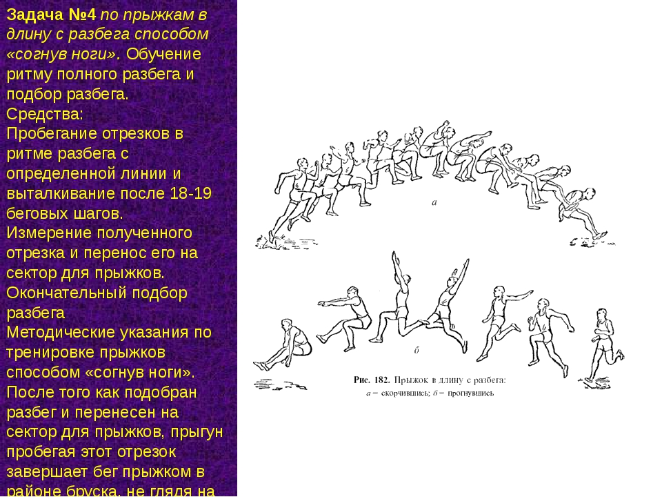 Задача №4по прыжкам в длину с разбега способом «согнув ноги».Обучение ритму...