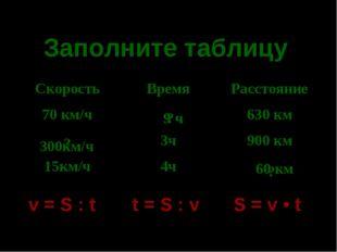 * Заполните таблицу v = S : t t = S : v S = v • t 9 ч 300км/ч 60 км ? ? ? Ско