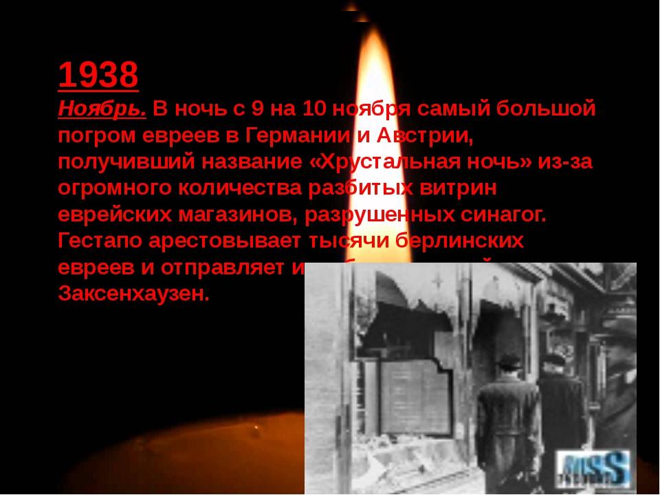 1938 Ноябрь. В ночь с 9 на 10 ноября самый большой погром евреев в Германии...