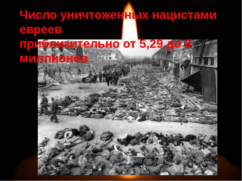 Число уничтоженных нацистами евреев приблизительно от 5,29 до 6 миллионов