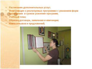 Расписание дополнительных услуг; Информация о реализуемых программах с указан
