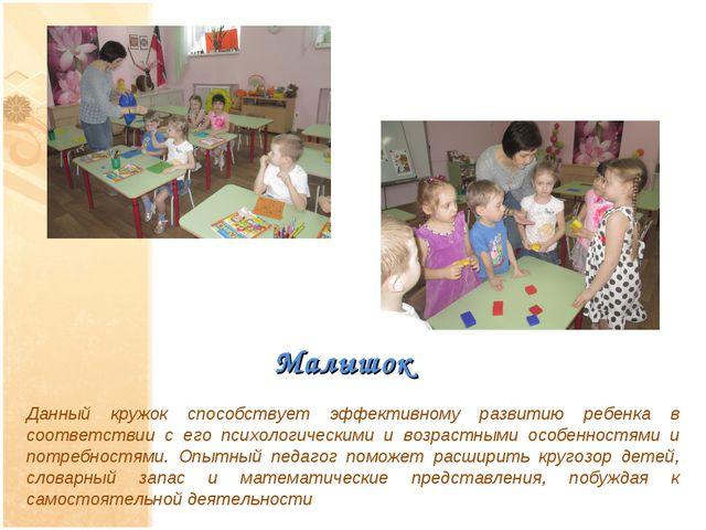 Малышок Данный кружок способствует эффективному развитию ребенка в соответств...