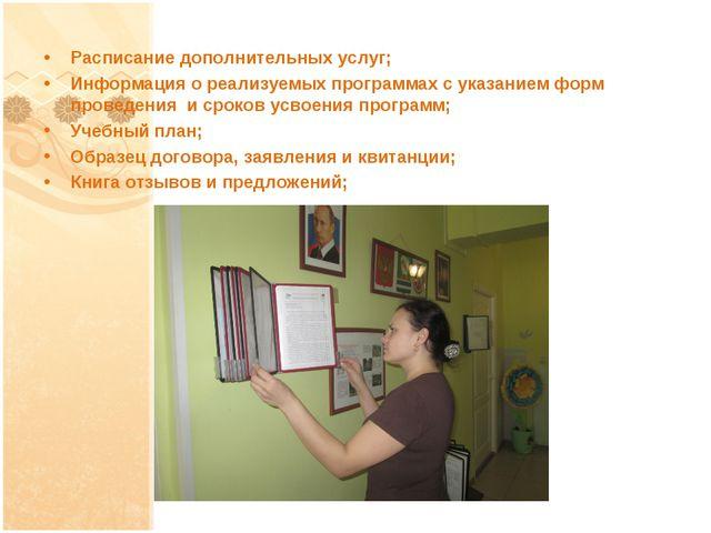 Расписание дополнительных услуг; Информация о реализуемых программах с указан...