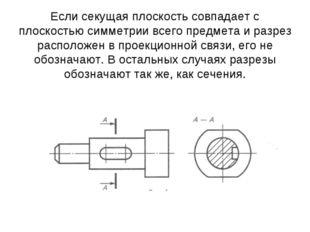 Если секущая плоскость совпадает с плоскостью симметрии всего предмета и разр