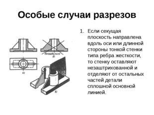 Особые случаи разрезов Если секущая плоскость направлена вдоль оси или длинно