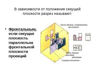 В зависимости от положения секущей плоскости разрез называют: Фронтальным, ес