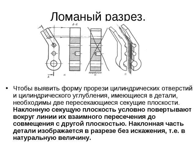 Ломаный разрез. Чтобы выявить форму прорези цилиндрических отверстий и цилинд...
