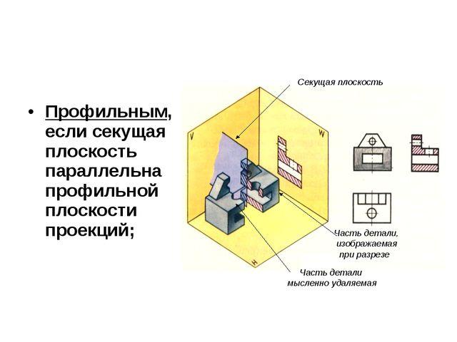 Профильным, если секущая плоскость параллельна профильной плоскости проекций;...