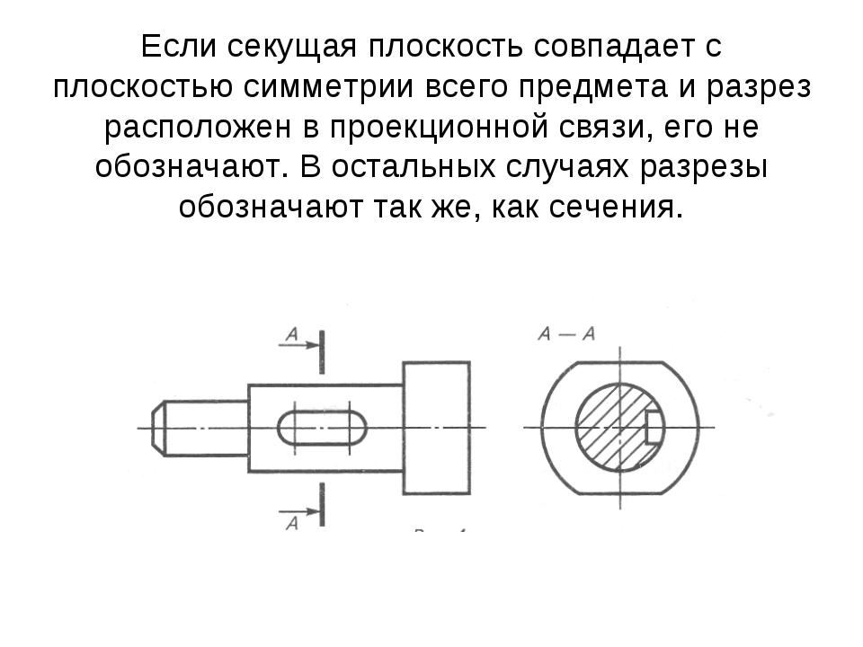 Если секущая плоскость совпадает с плоскостью симметрии всего предмета и разр...