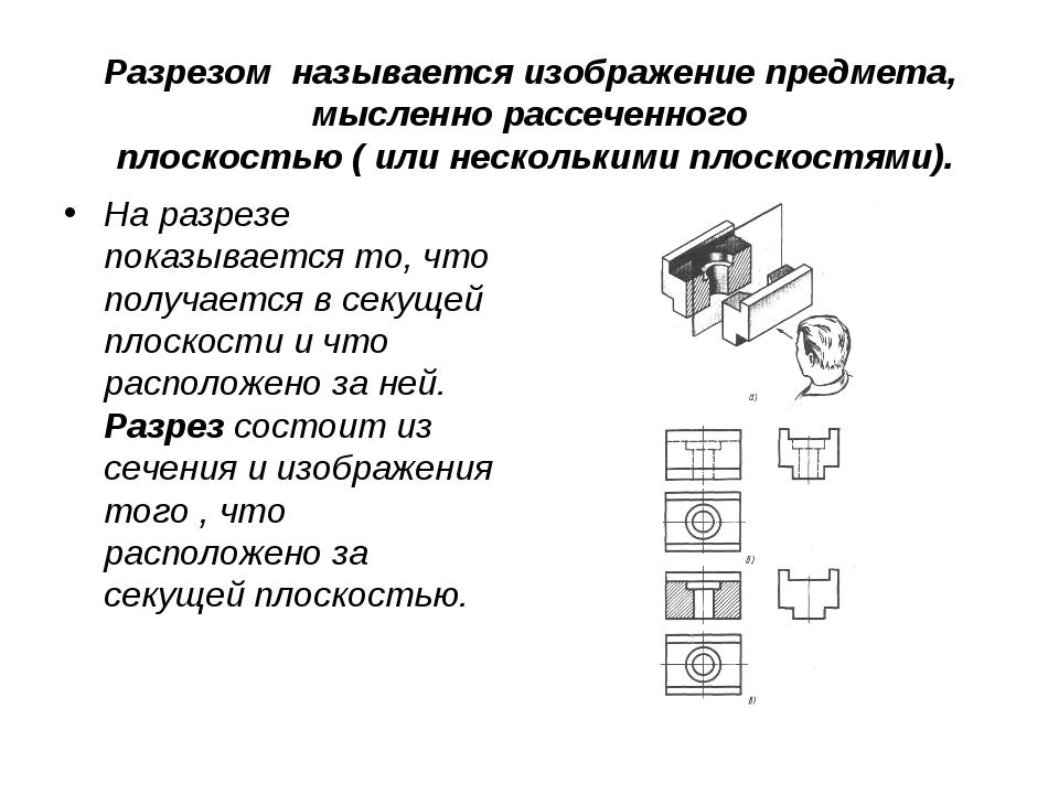 Разрезом называется изображение предмета, мысленно рассеченного плоскостью (...